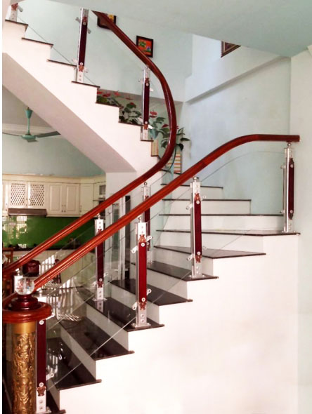 Cầu thang nhôm kính HP003